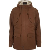 River Island Mens Rust Brown Borg Lined Winter Coat