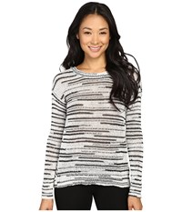 Calvin Klein Jeans 5Gg Space Dye Crew Black White Combo Women's Sweater