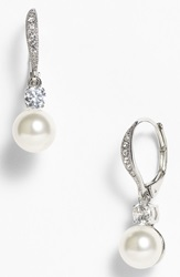 Nadri Drop Earrings Nordstrom Exclusive White Pearl Silver Clear Cz