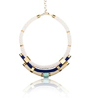 Iris Statement Necklace Nautical Vibes Blue Gold Nude