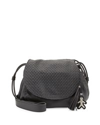 Molly Small Woven Flap Messenger Bag Dark Gray Henry Beguelin