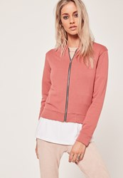 Missguided Basic Bomber Jacket Pink Clay