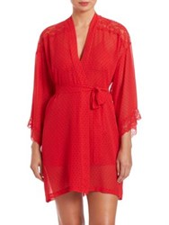 In Bloom Lace Detail Polka Dot Wrapper Robe