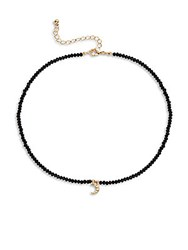 Cara Semi Precious Stone And Crystal Moon Pendant Choker Necklace Black Gold