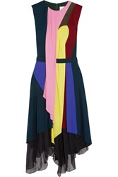 Peter Pilotto Haze Draped Jersey And Silk Chiffon Dress Blue