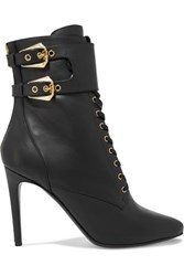 Balmain Lace Up Leather Ankle Boots Black