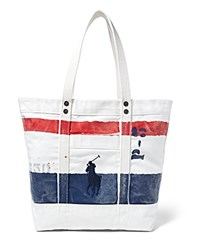 Polo Ralph Lauren Striped Canvas Tote Bag Oxford Nav