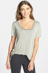 Solow Faux Leather Trim Tee Opal Black