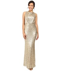 Badgley Mischka Sequin Blouson Gown Champagne Women's Dress Gold