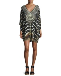 Camilla Embellished Batwing Sleeve Dress Zebra Crossing