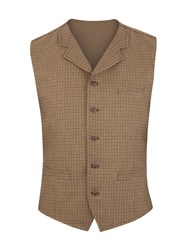 Gibson Doodson Dog Tooth Check Waistcoat Green