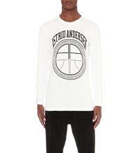 Astrid Andersen Basic Carry On Logo Cotton Jersey Top White