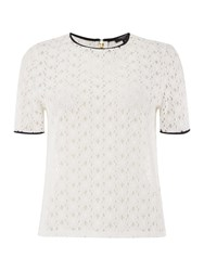 Therapy Lace Shell Top White