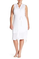 Bb Dakota Sleeveless Hi Lo Shirt Dress Plus Size White