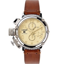U Boat Silver And Leather Chronograph Watch