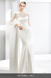 Women's Jes S Peir Illusion Yoke Lace Mermaid Dress In Stores Only