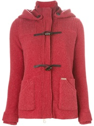 Bark Knitted Hooded Duffle Jacket Red