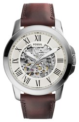 Men's Fossil 'Grant' Automatic Leather Strap Watch 45Mm
