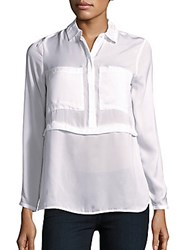 Saks Fifth Avenue Red Layered Bracelet Sleeve Blouse White