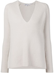 Helmut Lang V Neck Chunky Knit Sweater Nude And Neutrals