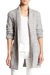 Nydj Belted Cable Knit Cardigan Petite Gray