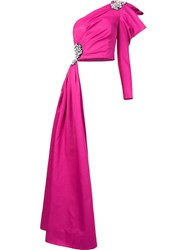 Moschino Crystal Embellished Asymmetric Top Pink And Purple