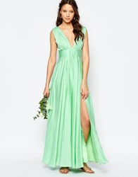 Fame And Partners Tall Valencia Maxi Dress With Cut Out Back Mint Green