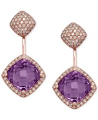 Effy Collection Effy Amethyst 3 4 Ct. T.W. And Diamond 3 4 Ct. T.W. Earrings In 14K Rose Gold