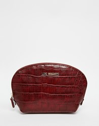 Love Moschino Mock Croc Make Up Bag Wine