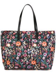 Red Valentino Floral Print Tote Black