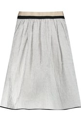 Rag And Bone Svea Grosgrain Trimmed Striped Linen Blend Skirt White