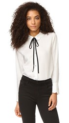 7 For All Mankind Scalloped Shirt White