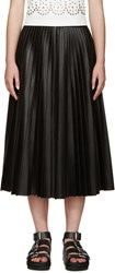 Alexander Wang Black Pleated Faux Leather Skirt