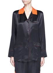 Givenchy Contrast Collar Silk Satin Pyjama Shirt Black
