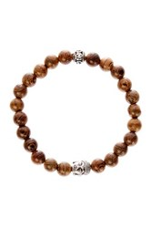 Jean Claude Buddha And Peace Charm Wooden Bead Stretch Bracelet Beige