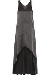 Narciso Rodriguez Asymmetric Silk Satin Dress Gunmetal