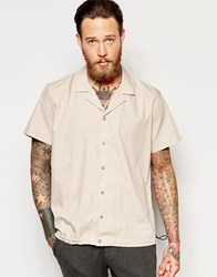 Asos Camel Shirt With Revere Collar And Elasticated Hem In Regular Fit Camel Brown