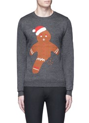 Topman Gingerbread Man Christmas Sweater Grey Multi Colour