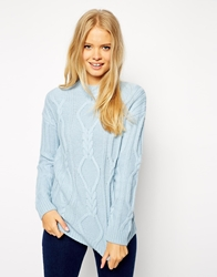 Asos Oversized Cable Jumper Paleblue