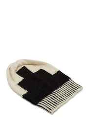 Voz Geometric Block Knit Beanie Hat Black