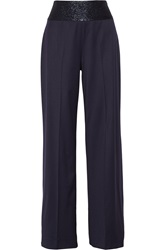 Oscar De La Renta Satin Wide Leg Pants Blue