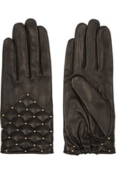 Agnelle Studded Quilted Leather Gloves