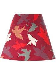 Red Valentino Swallow Print A Line Skirt Red