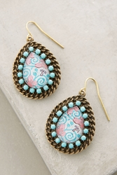 Jill Schwartz Paisley Teardrop Earrings Sky
