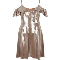 River Island Womens Metallic Nude Frilly Skater Dress