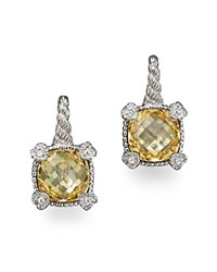 Judith Ripka Small Cushion Stone Earrings With 4 Hearts In Canary Crystal Yellow Silver