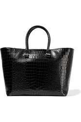 Victoria Beckham Liberty Croc Effect Leather Tote Black