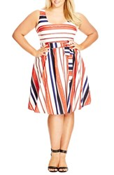 Plus Size Women's City Chic 'Fresh Stripe' Sundress