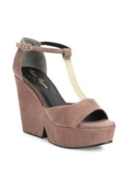 Robert Clergerie Daisy Suede And Chain Platform T Strap Sandals Sand Black