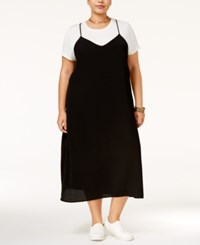 Monteau Trendy Plus Size Layered Look Dress Black